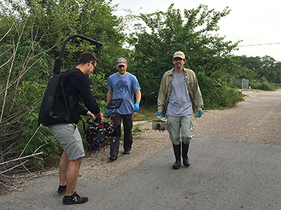Associate Professor Blum and PhD student Bruno Ghersi Chavez being filmed trapping rats in the Lower Ninth Ward of New Orleans for the Morgan Spurlock documentary Rats. Catch it on Netflix.
